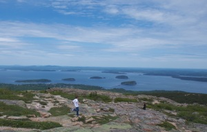 Kids running along Cadillac Mountain at Acadia, where as you can see, the vistas are breathtaking.